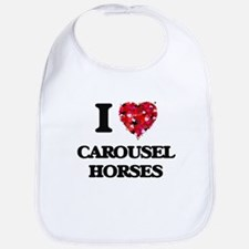 I love Carousel Horses Bib