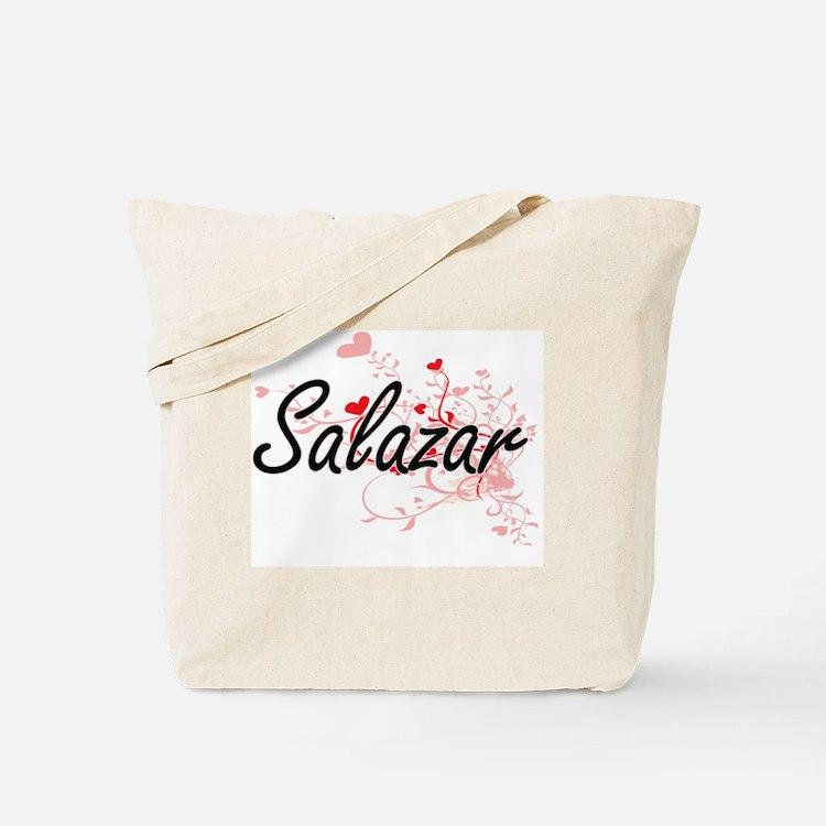 Salazar Artistic Design with Hearts Tote Bag