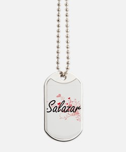 Salazar Artistic Design with Hearts Dog Tags