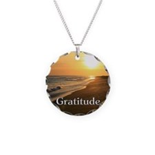 Gratitude Sunset Beach Necklace Circle Charm