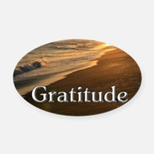 Gratitude Sunset Beach Oval Car Magnet