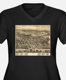 Vintage Pictorial Map of Hoboken Plus Size T-Shirt