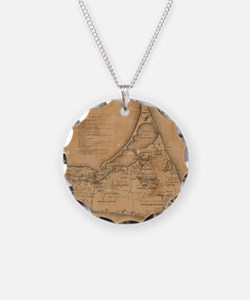 Vintage Map of Nantucket (18 Necklace Circle Charm