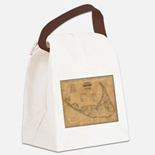 Vintage Map of Nantucket (1869) Canvas Lunch Bag