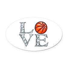 Love Basketball Oval Car Magnet