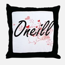 Oneill Artistic Design with Hearts Throw Pillow