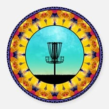Disc Golf Abstract Basket 4 Round Car Magnet