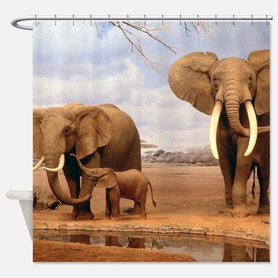 Family Of Elephants Shower Curtain