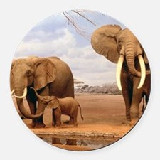 Family Of Elephants Round Car Magnet