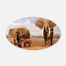 Family Of Elephants Oval Car Magnet