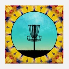 Disc Golf Abstract Basket 4 Tile Coaster