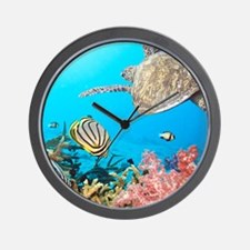 Turtle and Fishes Under Water Wall Clock