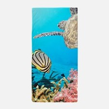 Turtle and Fishes Under Water Beach Towel