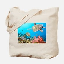 Turtle and Fishes Under Water Tote Bag