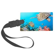 Turtle and Fishes Under Water Luggage Tag