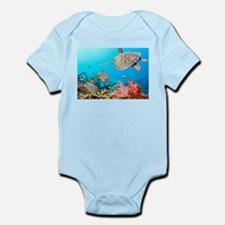 Turtle and Fishes Under Water Body Suit
