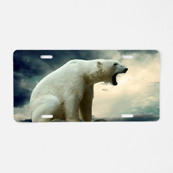 Polar Bear Roaring Aluminum License Plate