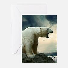 Polar Bear Roaring Greeting Cards