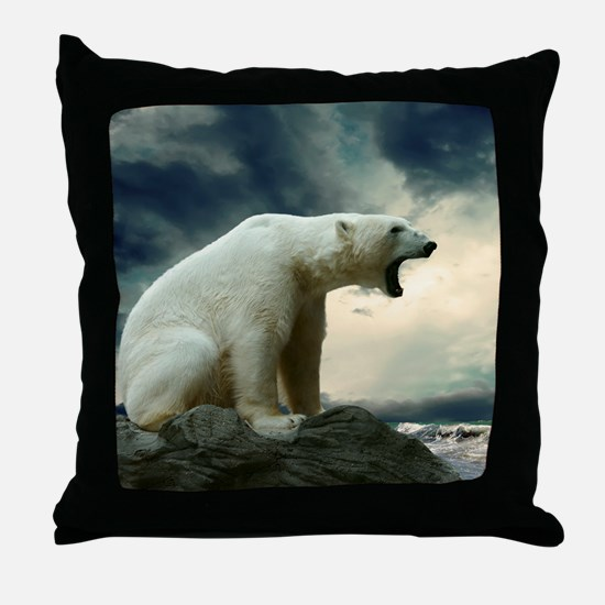 Polar Bear Roaring Throw Pillow