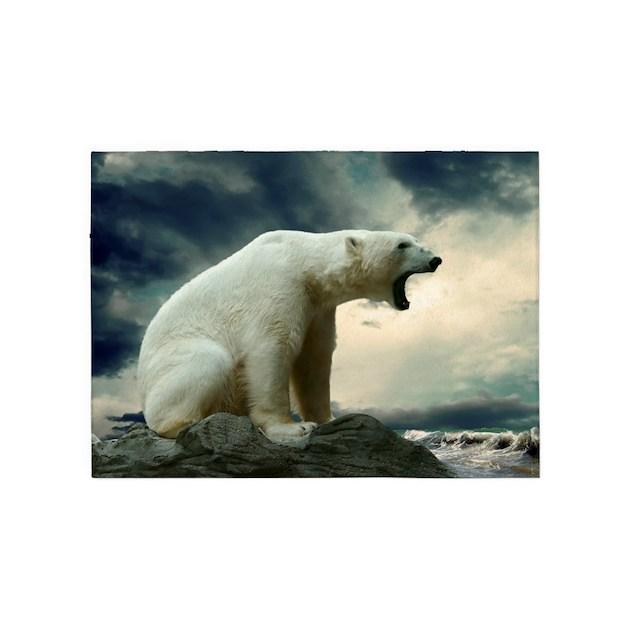 Polar Bear Roaring 5'x7'Area Rug By WickedDesigns4