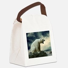 Polar Bear Roaring Canvas Lunch Bag