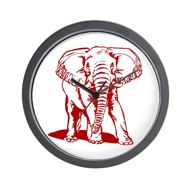 Line Drawing Clock : Cute dark red elephant line drawing wall clock by admin