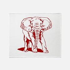 Cute Dark Red Elephant Line Drawing Throw Blanket