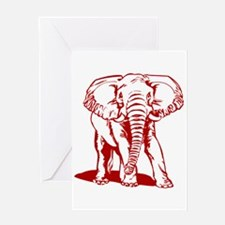 Cute Dark Red Elephant Line Drawing Greeting Cards