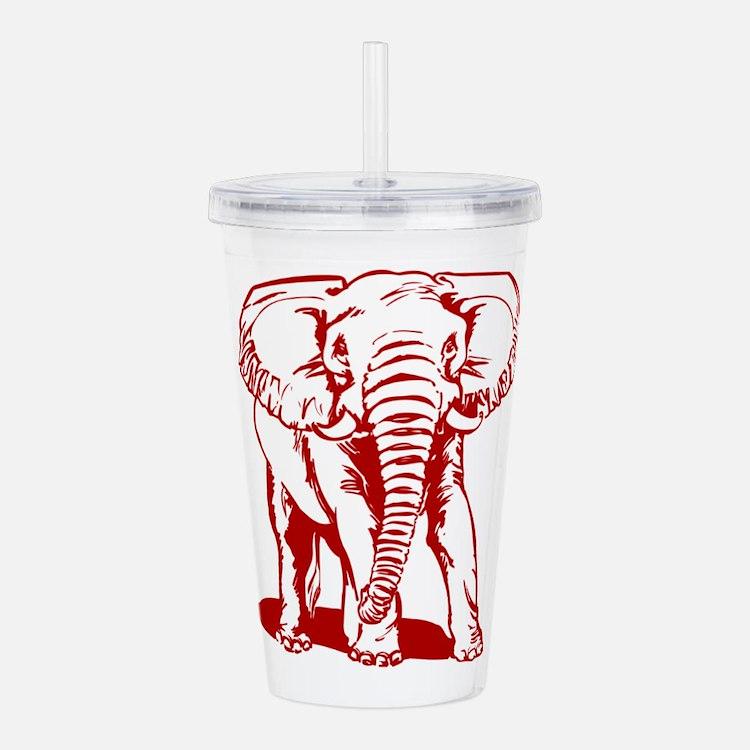 Cute Dark Red Elephant Acrylic Double-wall Tumbler