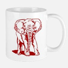 Cute Dark Red Elephant Line Drawing Mugs