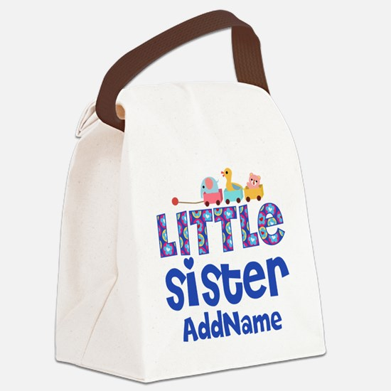 Personalized Name Little Sister Canvas Lunch Bag