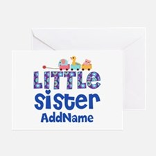 Personalized Name Little Sister Greeting Card