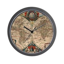 Vintage Map of The World (1641) Wall Clock