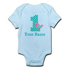 Teal Pink Bird 1st Birthday Personalized Body Suit