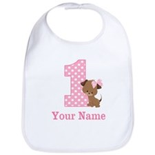 1st Birthday Girl Puppy Personalized Bib