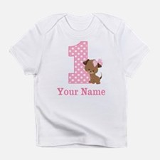 1st Birthday Girl Puppy Personalized Infant T-Shir