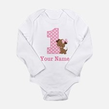 1st Birthday Girl Puppy Personalized Body Suit