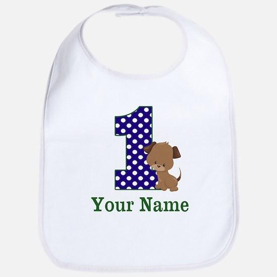 1st Birthday Boy Puppy Personalized Bib