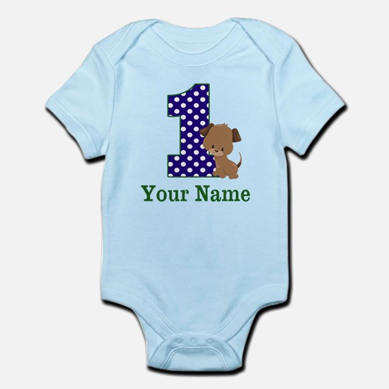 1st Birthday Boy Puppy Personalized Body Suit