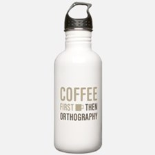 Coffee Then Orthograph Water Bottle