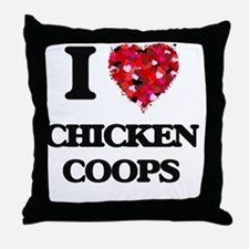 I love Chicken Coops Throw Pillow