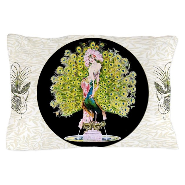 B Fly Lady Peacock Beauty Rivals Pillow Case By Admin