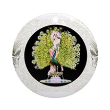 B'fly Lady Peacock Beauty Rivals Ornament (Round)