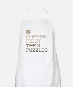 Coffee Then Puzzles Apron