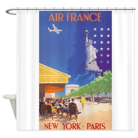 Air france vintage travel poster shower curtain by for Air france assistance chaise roulante