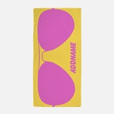 Pink Yellow Hipster Sunglasses Persona Beach Towel