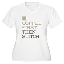 Coffee Then Stitch Plus Size T-Shirt