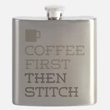 Coffee Then Stitch Flask