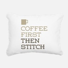 Coffee Then Stitch Rectangular Canvas Pillow