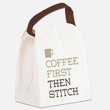Coffee Then Stitch Canvas Lunch Bag